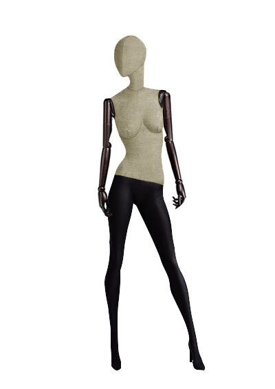 Wooden fabric mannequins of the Nostalgie series