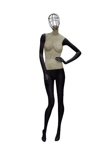 Female fabric mannequins of the Nostalgie series with a wire head