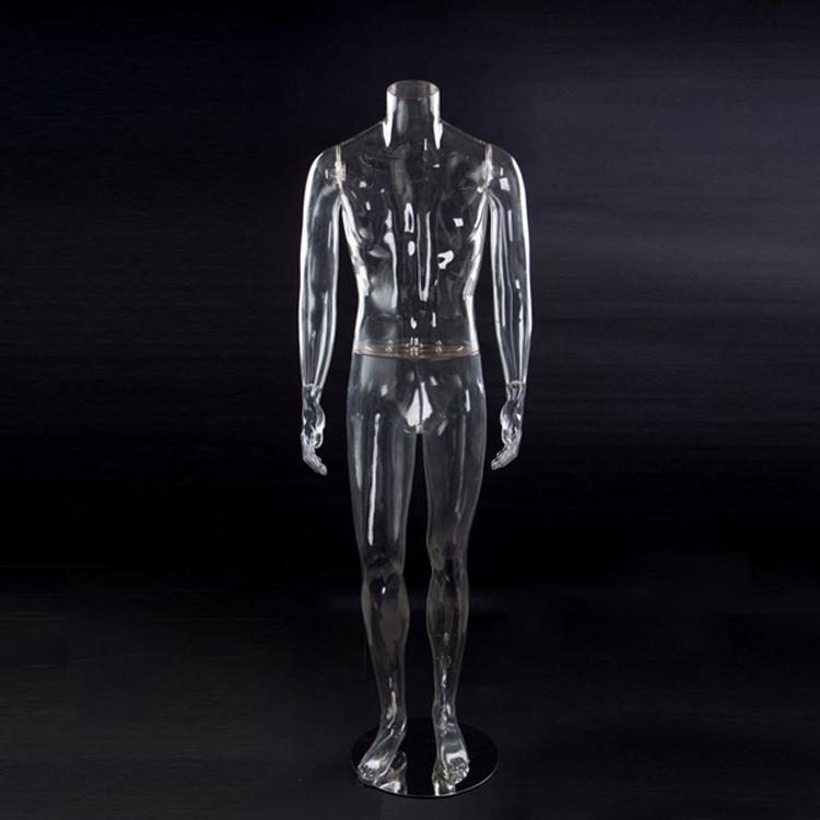 Headless male mannequin transparent
