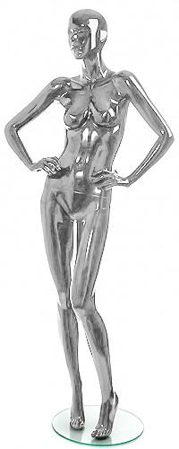 Shiny-Chrome 5 Female Mannequins