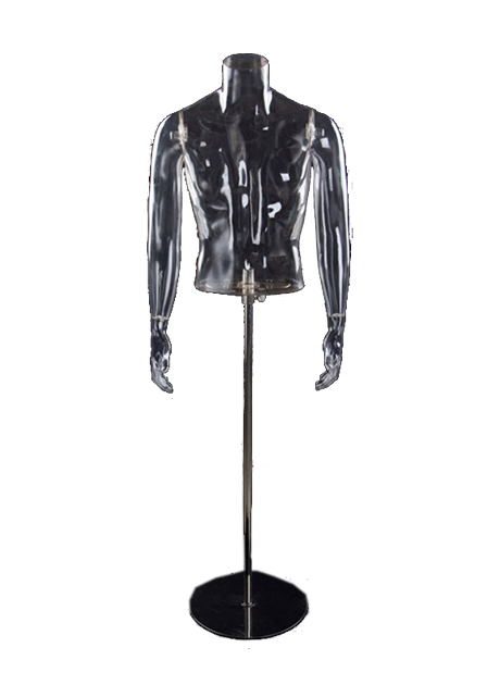 Male torso with transparent hands on a stand
